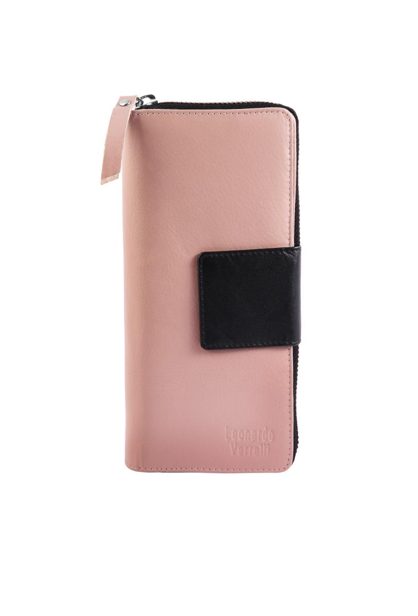 986f7c6fbf Dámska peňaženka s RFID ochranou z pravej kože – Leonardo Verrelli – ružová